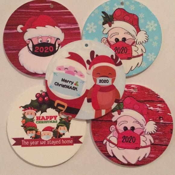 5 2020 Christmas Ornament Santa Elves & Deer Masks